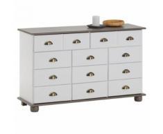 Commode COLMAR chiffonnier apothicaire rangement avec 11 tiroirs en pin massif lasuré blanc et taupe - Commodes