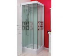 Aqua+ - cabine de douche carré accès d'angle transparent sérigraphié portes coulissantes 80x80cm - kelia - Installations salles de bain