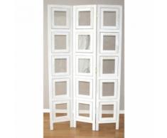 Paravent 3 panneaux blanc en bois avec 15 porte photos PAR06007 - Objet à poser