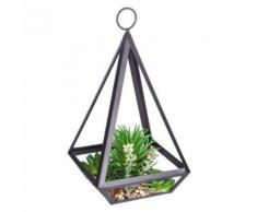 Paris Prix - Plante Artificielle Métal pyramide 28cm Noir - Plantes artificielles