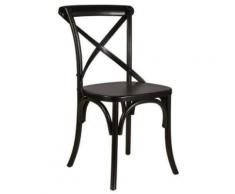 ROMANCE Chaise de cuisine en rotin tressage serré noir - Chaise