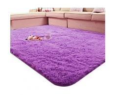 Tapis de bain violet à poils longs en Soie - Accessoires de bain