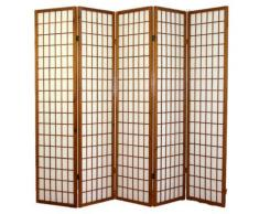 Paravent japonais Shoji en bois brun foncé de 5 pans -PEGANE- - Objet à poser