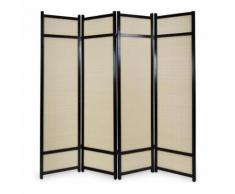 Paravent 4 panneaux pliable en bois noir et bambou 176 x175 cm PAR06062 - Objet à poser