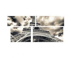 Tableau Multi Panneaux Tour Eiffel sur toile 140x70 cm gris et noir - Décoration murale