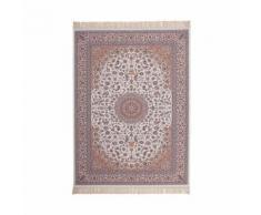 Tapis avec franges en acrylique style orient ivoire isfahan - Tapis et paillasson