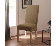 Housse de chaise uni bi-extensible coton/polyester beige- lot de 2 LISA - Textile séjour