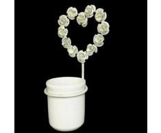 L'Héritier Du Temps - Porte gobelet à brosse à dents mural ou patère circulaire et son verre motif coeur à fixer en fer patiné blanc 12,5x13,5x23,5cm - Accessoires de bain
