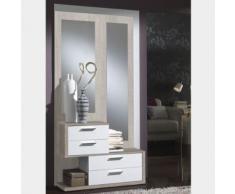 Meuble entrée couleur bois clair et blanc moderne CORDOBA 2 - L 94 x P 28,5 x H 70,3 cm - Meubles à chaussures