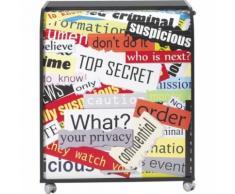 Meuble Informatique Noir à Roulettes Rideau Imprimé Top Secret - Postes Informatiques