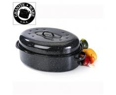 Cocotte acier émaillé, 38 cm, noir, roaster graniteware - Casserolerie