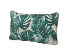 Coussin déhoussable rectangulaire en coton motif jungle tropical 30x50cm JUNGLE vert - Textile séjour