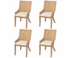 Meelady Ensemble de 4 Chaises de Salle à Manger de Jardin en Rotin 64 x 53 x 103 cm - Chaise