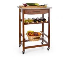 Klarstein Chariot de service desserte cuisine 4 niveaux plan de travail granit - Accessoires de rangement