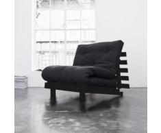 Pack futon matelas latex gris anthracite structure en bois wengé 160x200 - Ensembles matelas et sommier