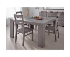 Table à manger carré bois et verre L140xP140xH77.5cm BRUTS - Gris - Tables salle à manger