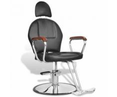 Tabouret Fauteuil de Coiffure Salon en Cuir Noir 62 x 82 x (112-122)cm - Chaise