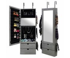Miroir de Rangment, Armoire à Bijoux avec Miroir, 101 x 35,5 x 9,5 cm, Gris, Crochet pour porte, Matériau: MDF, Verre - Miroir