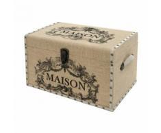 Grand Coffre Grande Malle de Rangement Bois Toile de Jute Maison 50x32x31 cm - Coffres