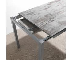Table à manger moderne effet bois et blanc JENA - L 190 x P 80 x H 76 cm - Tables salle à manger