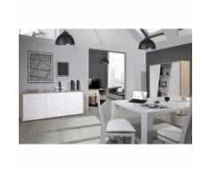 Salle à Manger Complète Chêne/Blanc - JODIE n°2 - Tables salle à manger