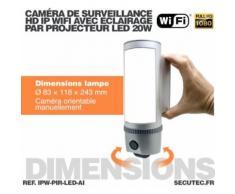 Projecteur LED 20W avec caméra extérieure IP Wi-Fi HD 1080P avec détection de mouvement PIR - Équipements et sécurité pour la maison