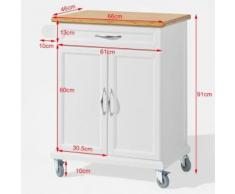 SoBuy® Desserte Chariot de cuisine roulant, Meuble Armoire rangement FKW13-WN FR - Dessertes de rangement