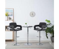 Meelady Tabourets de Bar Chaise de Bar Pivotante pour Maison, Bureau et Salon 2 pcs Similicuir 54 x 58 x (94,5-115) cm Noir - Chaise