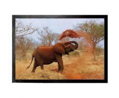 Eléphants Paillasson Essuie-Pieds - Éléphant Africain Prend Sa Douche De Sable (50x70 cm) - Tapis et paillasson