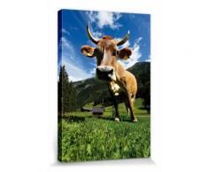 Vaches Poster Reproduction Sur Toile, Tendue Sur Châssis - Vache Sur Pâturage En Montagne (30x20 cm) - Décoration murale