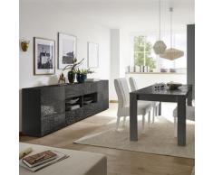 Séjour gris laqué buffet 4 portes 2 tiroirs design ELMA 2 - L 180 x P 90 x H 79 cm - Tables salle à manger