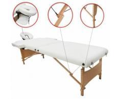 Table Professionnelle pour Thérapie, Table de Massage Pliante, Blanc, Pliable en 2 parties, avec repose-tête, accoudoir, et sac de transport, Pieds en bois, Dimensions: 186 x 71 x 62 cm - Objet à poser