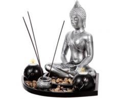 Statuette bouddha zen avec plateau et décorations galets, photophores,... - Objet à poser