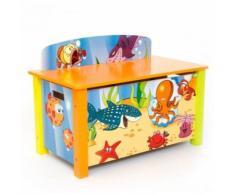 Coffre à jouets en bois meuble chambre enfant motif mer 66x50x39cm APE06002 - Objet à poser