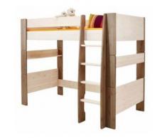 Lit enfant Mezzanine Pin Massif Lasuré Blanc et Taupe - Dim : 206 x 114 x 165 cm -PEGANE- - Cadre de lit