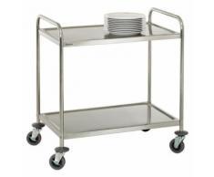 Chariot de service cuisine design professionnel inox 2 étages max 120 kg 3614115 - Accessoires de rangement