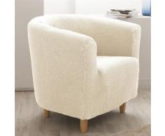 Housse de fauteuil cabriolet/club unie bi-extensible coton/polyester écru LISA - Textile séjour
