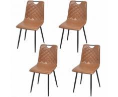 vidaXL Chaises 4 pcs en cuir artificiel Marron clair Chaises de salle à manger cuisine - Chaise