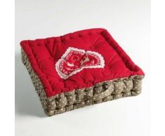 Coussin de sol 45 x 45 x 10 cm coton imprime brode edelweiss Rouge - Textile séjour