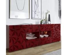 Enfilade rouge laqué design 2 portes 4 tiroirs PAOLO 2 - L 241 x P 42 x H 84 cm - Buffets