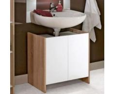 Meuble sous-lavabo 2 portes effet chêne naturel façades blanches - Meubles de salle de bain
