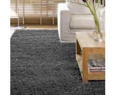 Tapis shaggy poil long 100% polypropylène 60x110cm gris DOUCEUR - Tapis et paillasson
