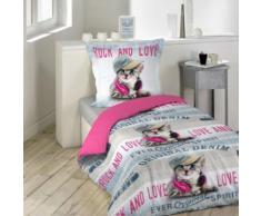 Parure de Lit Enfant Girly Cat 140x200 - Douceur d'Intérieur - Linge de lit