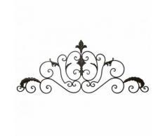 L'Héritier Du Temps - Applique décorative style baroque fronton mural ou dessus de porte à poser en fer patiné marron 1x41x102cm - Décoration murale