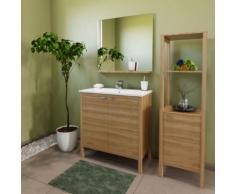 Meuble de rangement 1 porte - 3 tablettes TRIBU / CHÊNE - Meubles de salle de bain