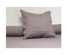 Couvre-lit Boutis uni taupe 180x220 cm avec 1 taie d'oreiller - Linge de lit