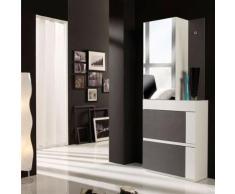 Meuble d'entrée Cendre/Blanc + armoire - TALITA - Commodes