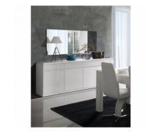 Buffet, bahut, enfilade 4 portes et 4 tiroirs + miroirs FABIO. Blanc brillant. Meuble design pour votre salon salle à manger - Buffets