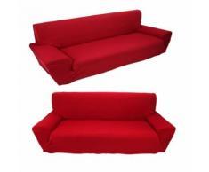 Housse de Canapé Sofa Fauteuil En Polyester Elastique Moderne (2 PLACES, Rouge) - Textile séjour
