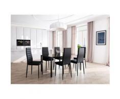Table à manger L160 cm ELSA noire en verre trempé avec 6 chaises en simili - Tables salle à manger